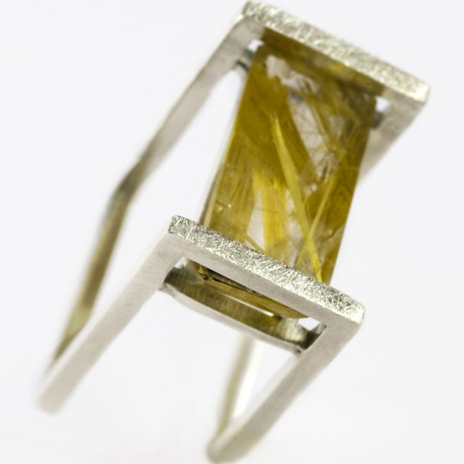 Rutiled Quartz Square Wire Ring