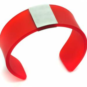 Red Perspex And Silver Cuff