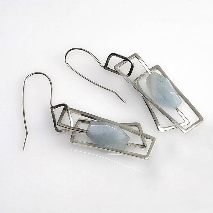 Large Aquamarine Component Earrings