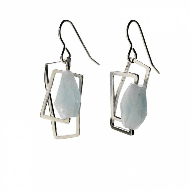 Component Earrings With Aquamarine Stone