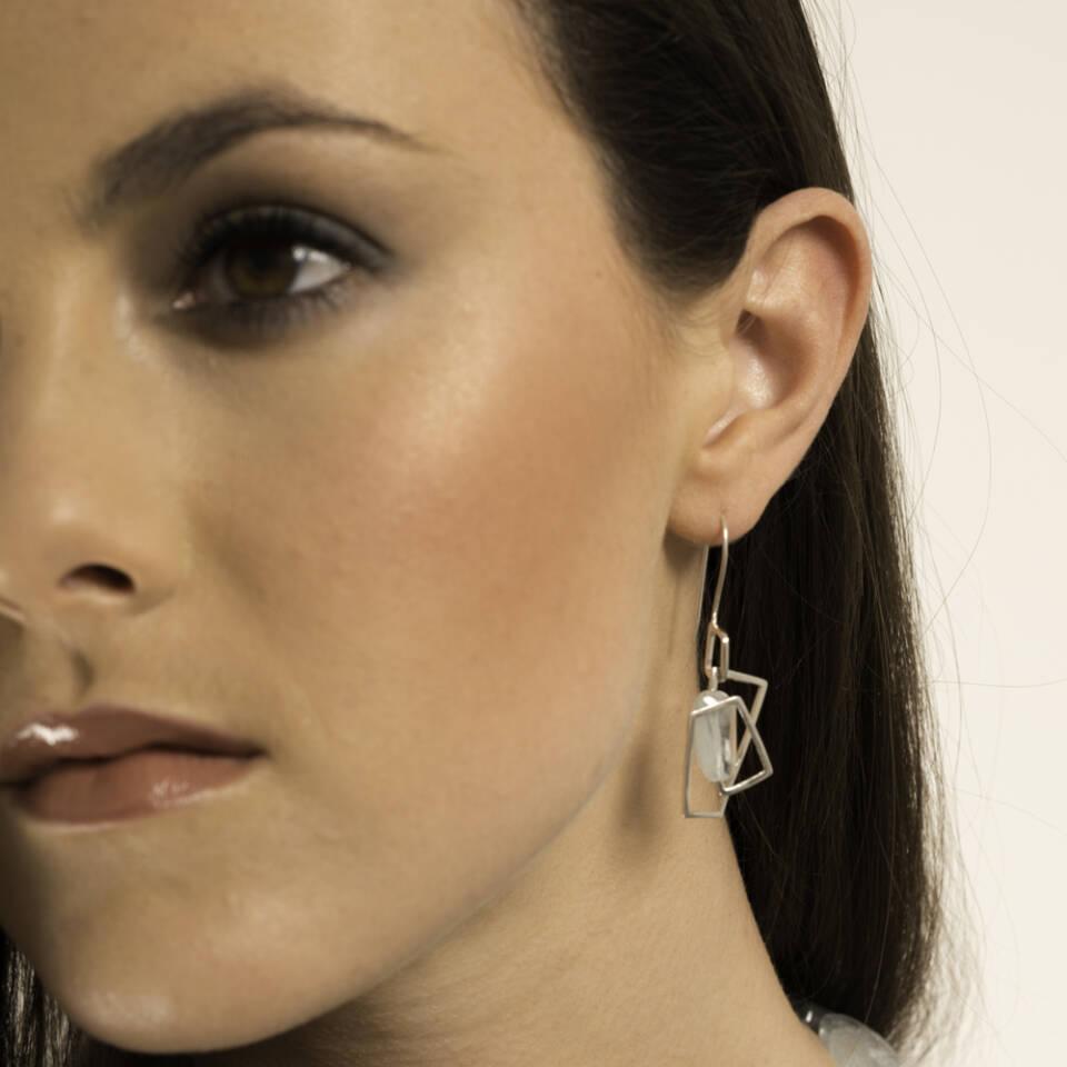 small aquamarine component earrings