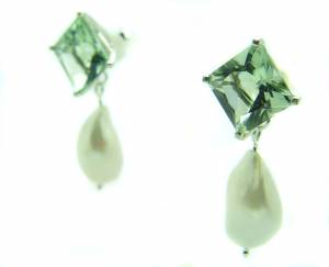 Green Amethyst Pearldrop Earrings