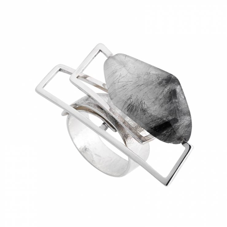 Tourmalinated Quartz Component Ring