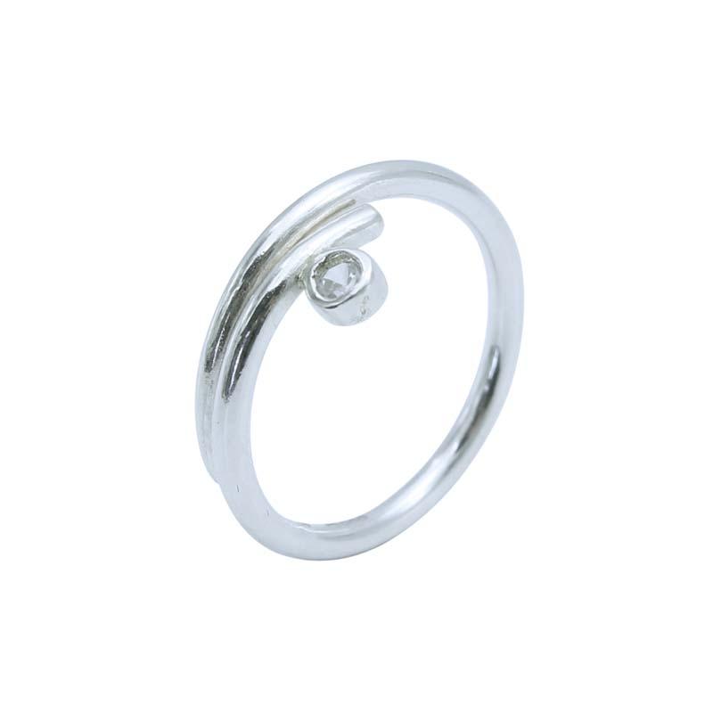 Wrap Silver CZ Ring