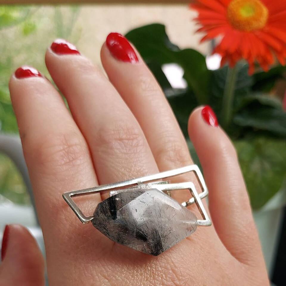 tourmalinated quartz component ring