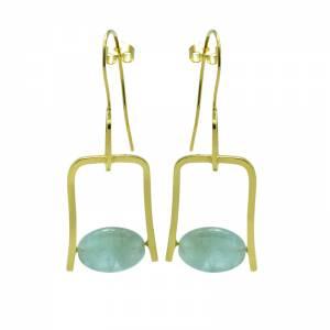 Aquamarine Geometric Wire Earrings