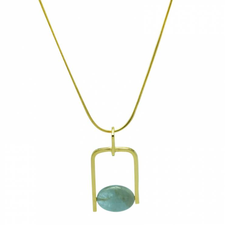 Aquamarine Geometric Wire Gold Plated Pendant