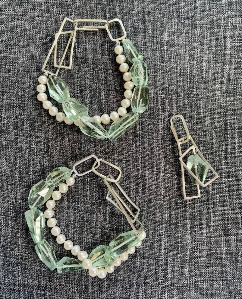 Nikki Oji styling green amethyst multi sections bracelets and pendant - Genna Delaney Jewellery