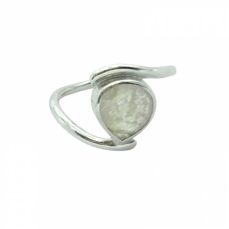 Rose Quartz Silver Engagement Ring
