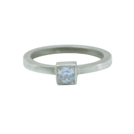 Square CZ Square Wire Engagement Ring Flat