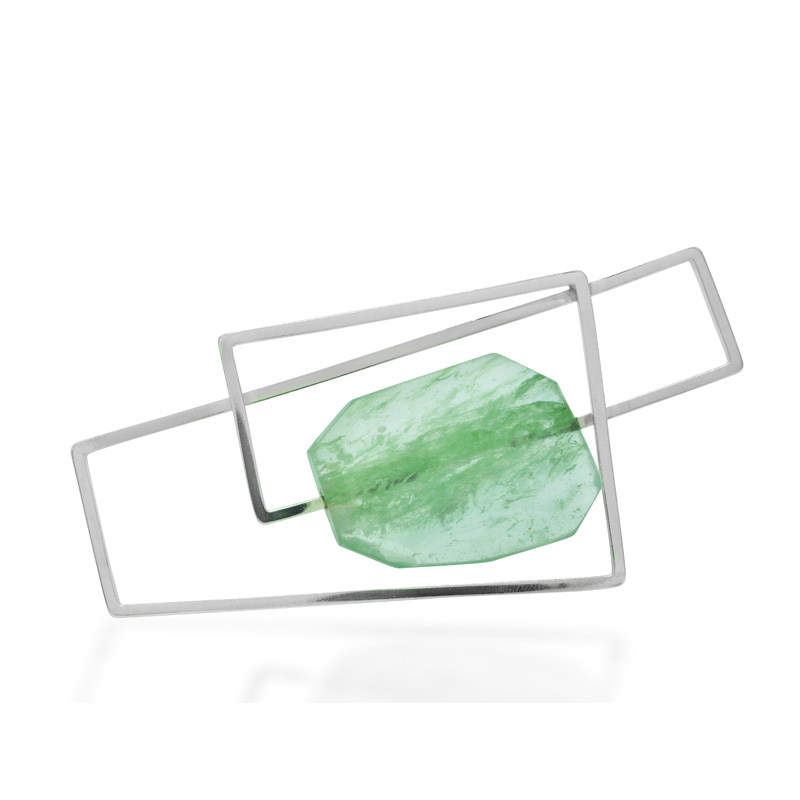 green quartz statement brooch