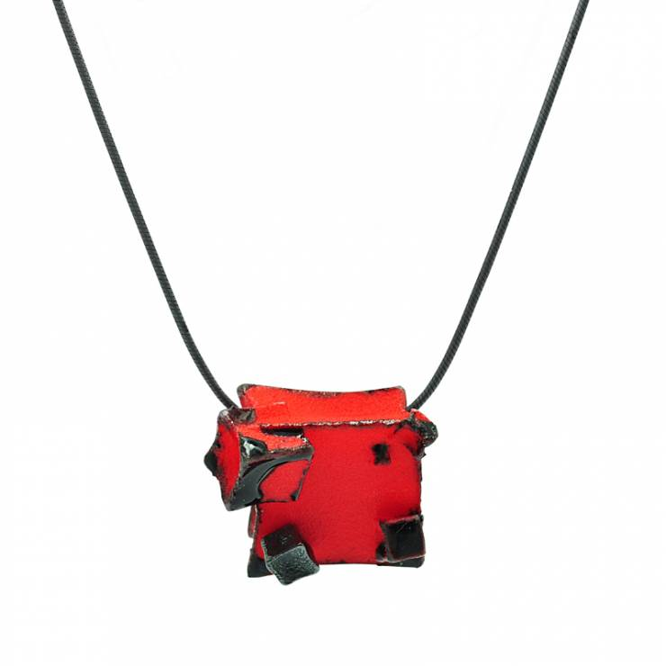 Red Black Cube Pendant - Oxidised Silver Detail
