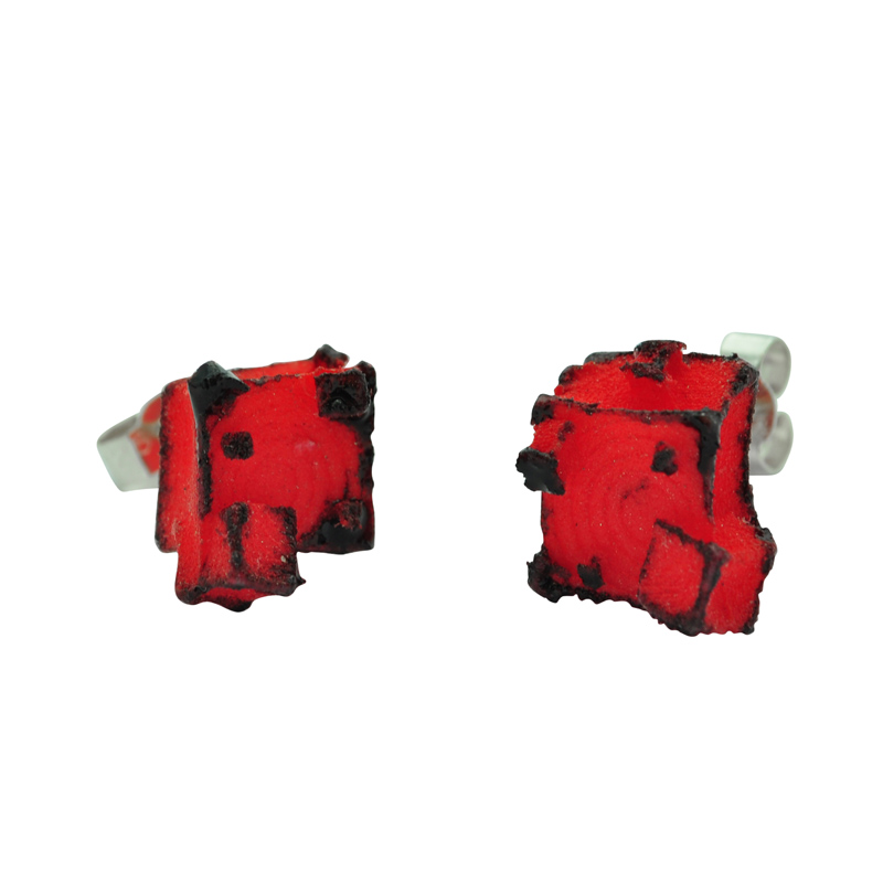 Red Black Cube Studs