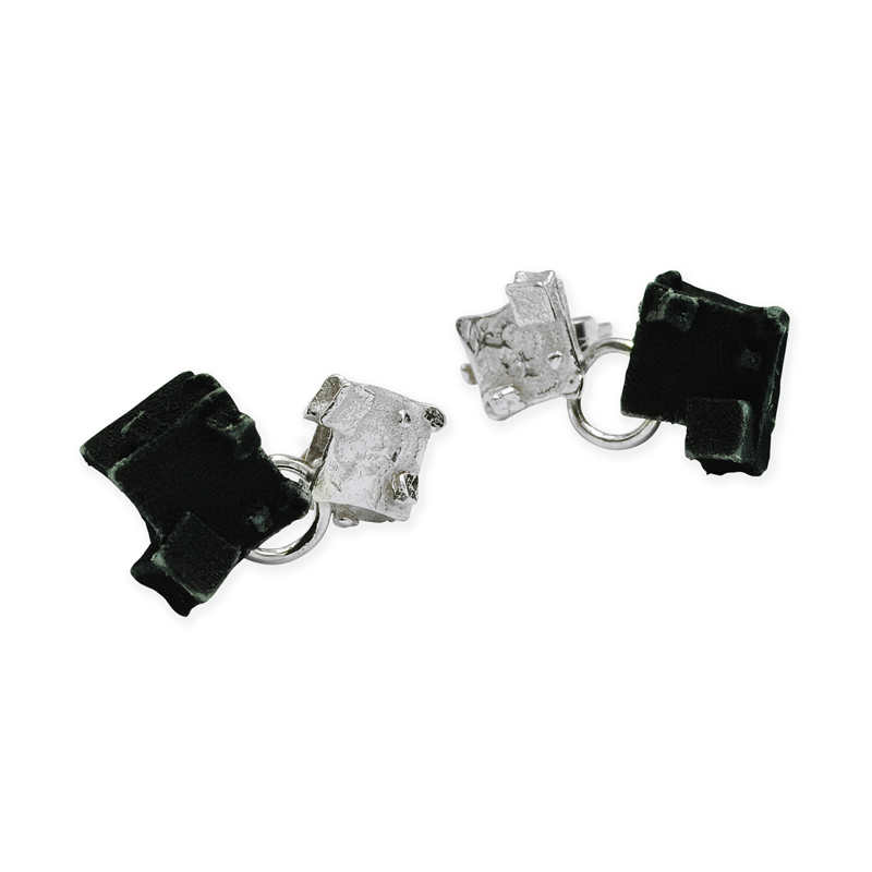 silver diamond gothic cube drop earrings