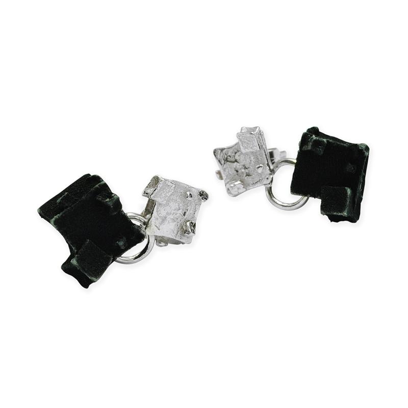 silver diamond gothic cube drop earrings