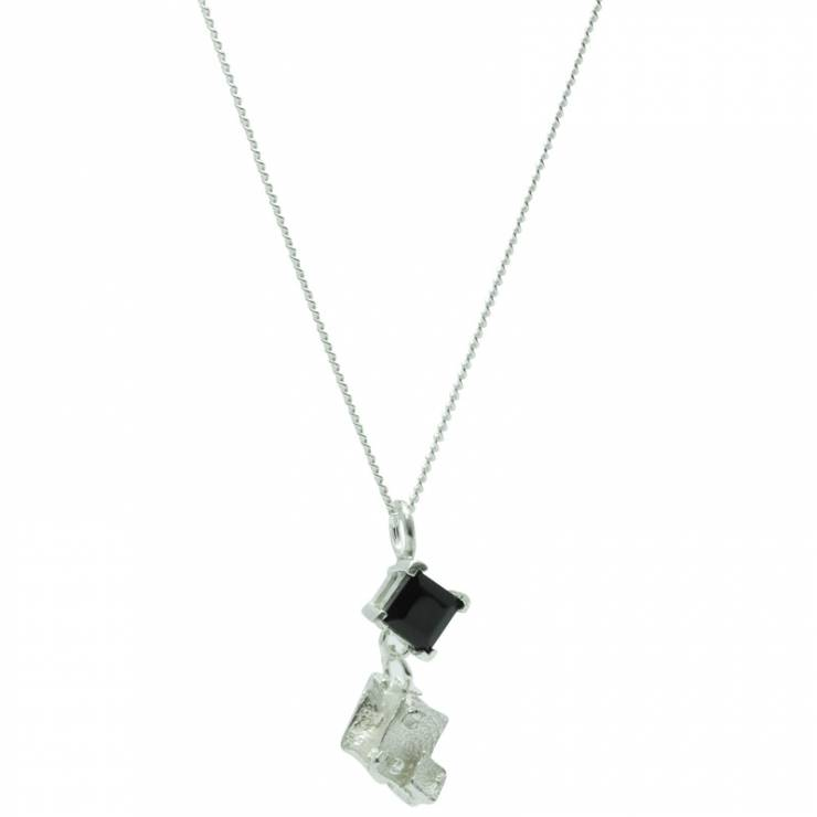 Onyx Drop Diamond Cube Pendant