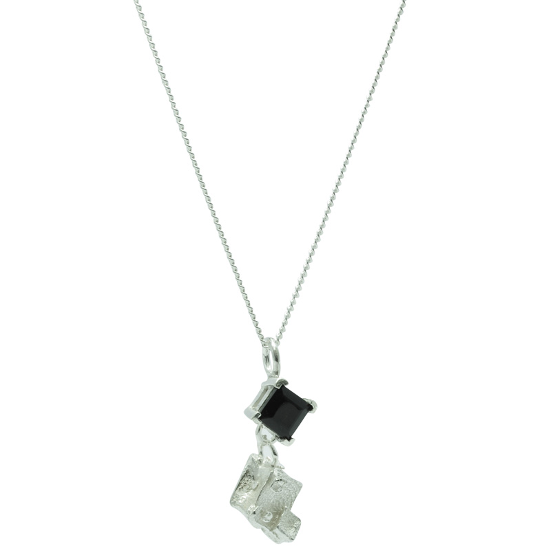 Onyx Drop Diamond Cube Pendant