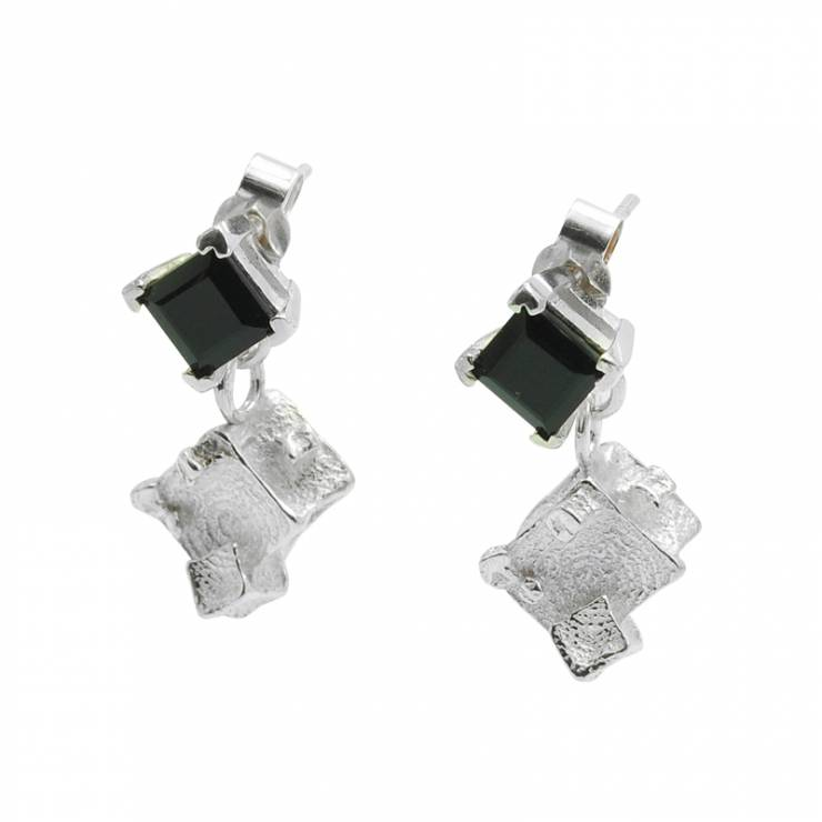 onyx cube drop earrings