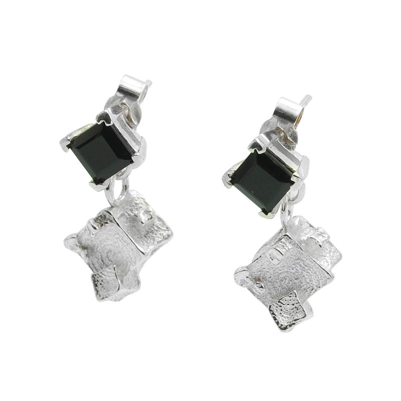 onyx cube drop earrings