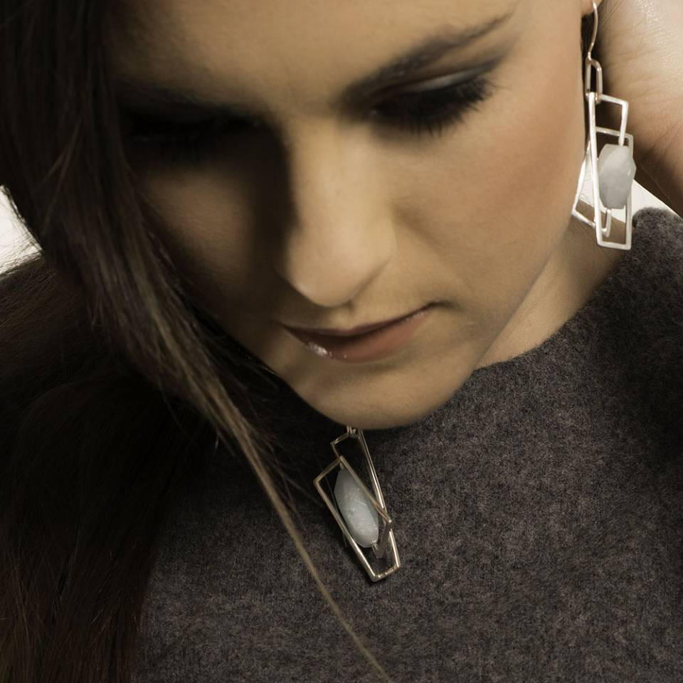 large component aquamarine pendant and earrings modelled - Genna Delaney Jewellery