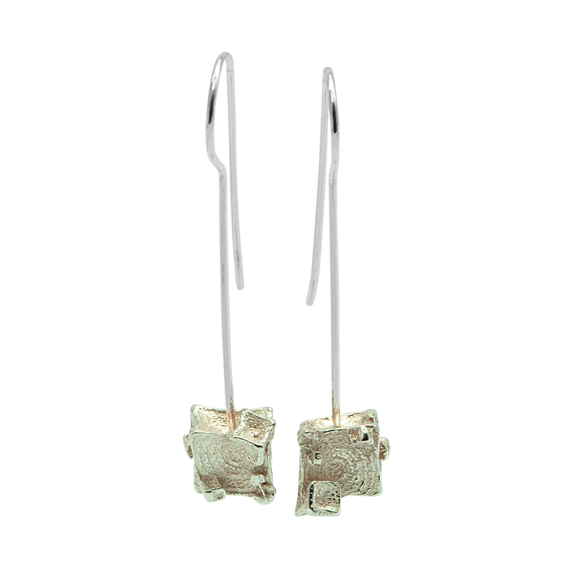 Cube Wire Drop Earrings