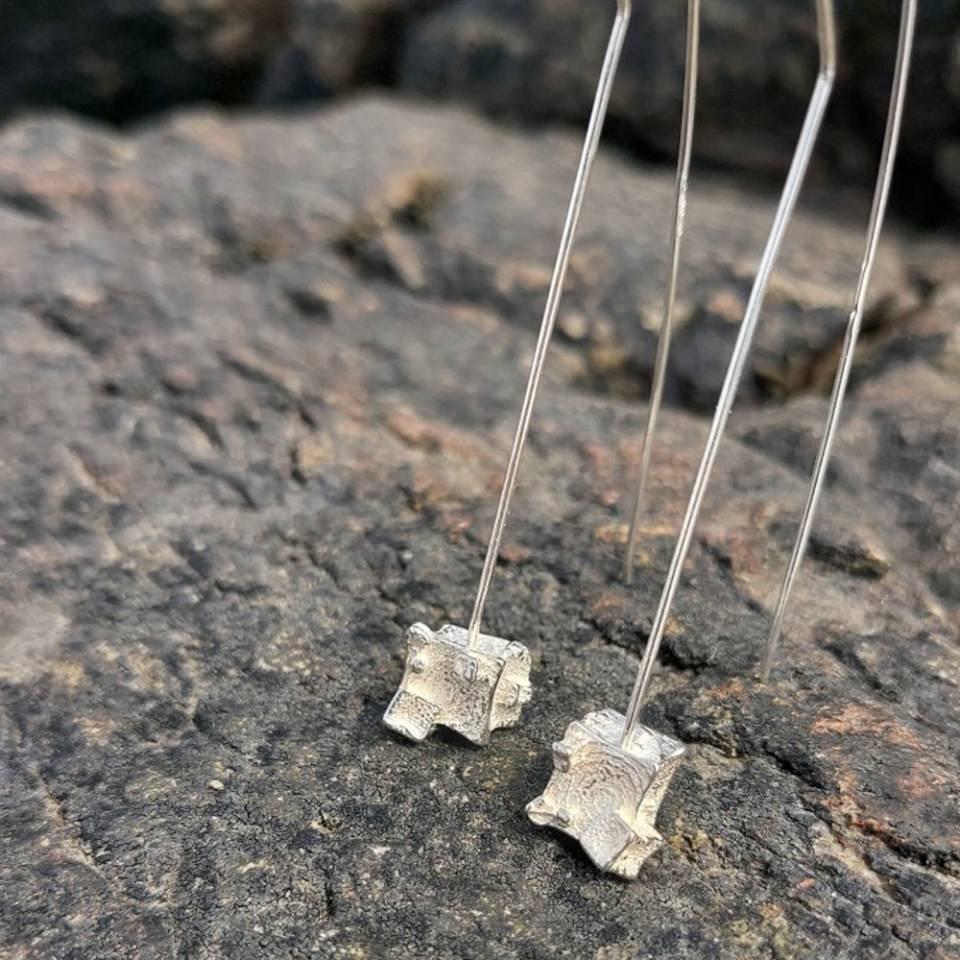 cube wire drop earrings
