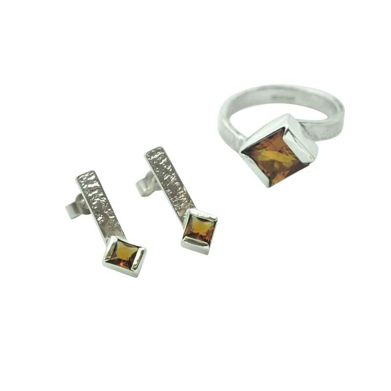 Citrine Earrings Ring Set