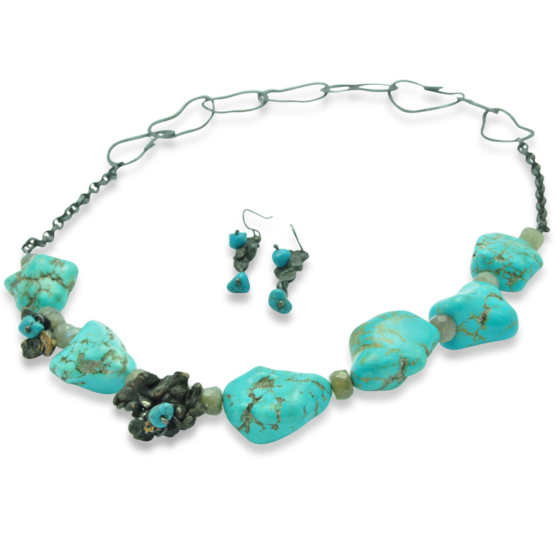 Turquoise Nugget Necklace Set