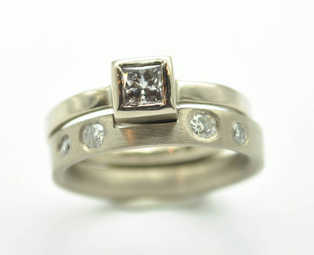 fitted diamond wedding and engagement ring set