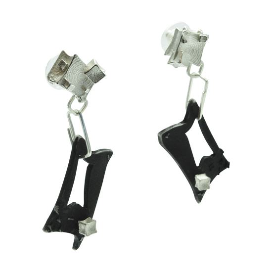 Genna Delaney - Gothic cube drop rectangle earrings