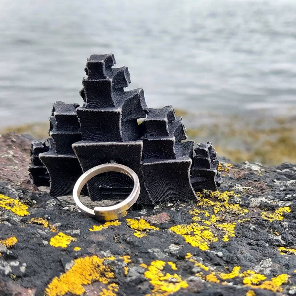pyramid city scape statement ring
