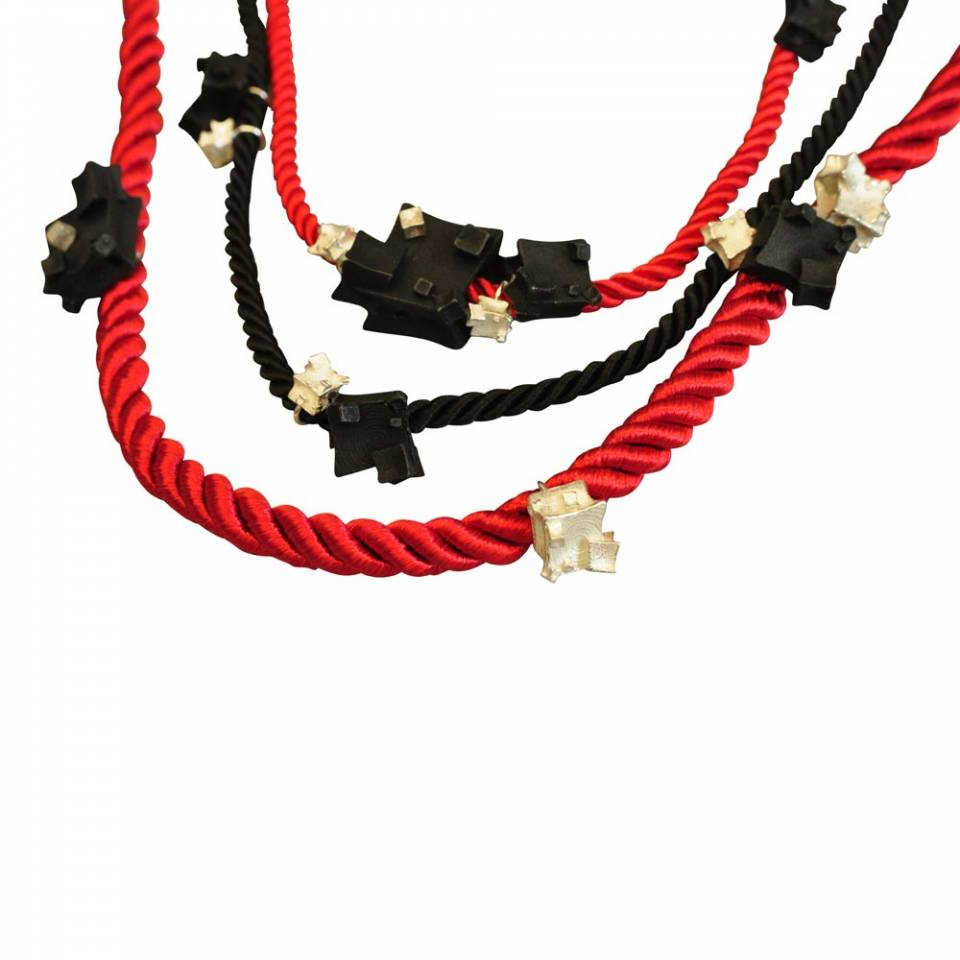 red black rope multi necklace - closeup