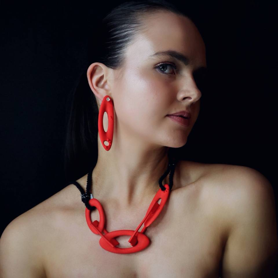 red chain black rope necklace