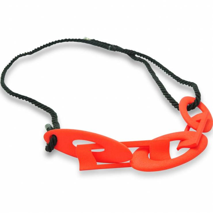 red chain necklace - black rope