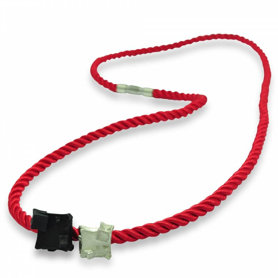 red rope single necklace wrap bracelet