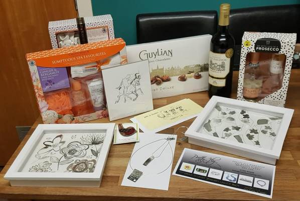 Raffle prizes to raise money for the Fawcett Society