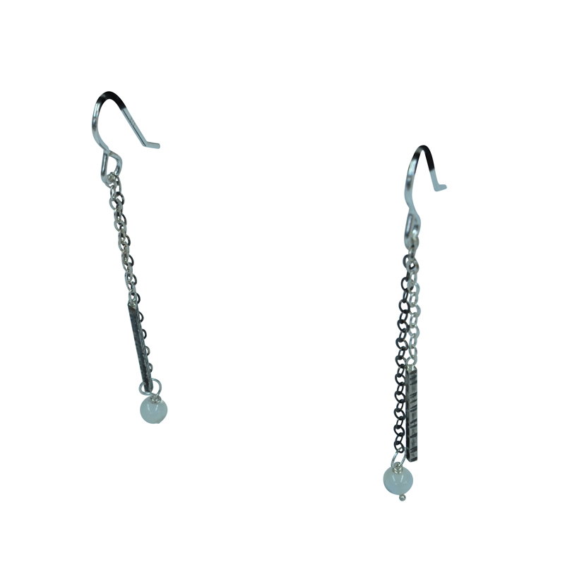 3 chain textured drop earrings