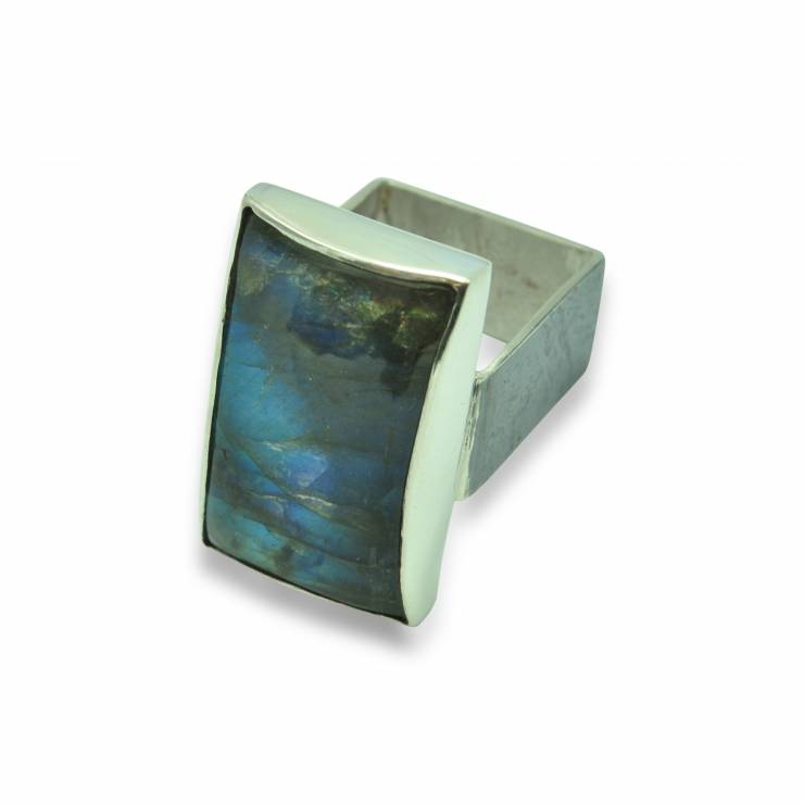labradorite square ring