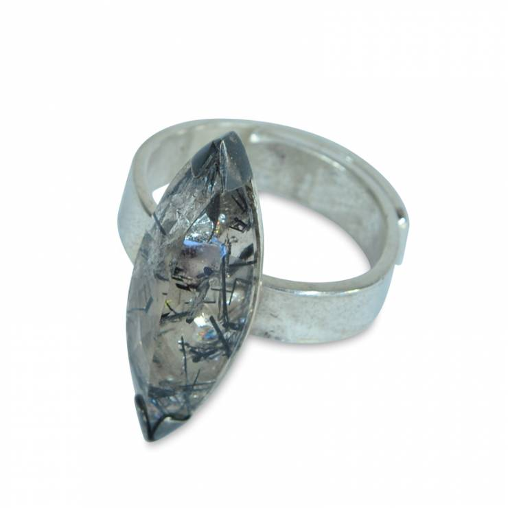 Tourmalinated quartz marquise ring