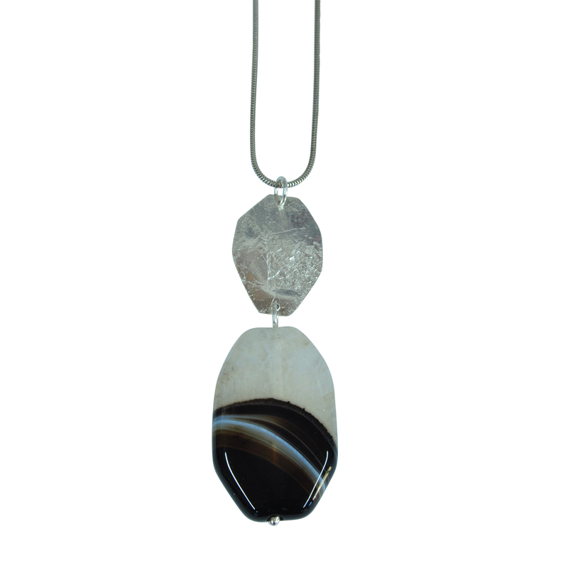 rollered hex agate pendant