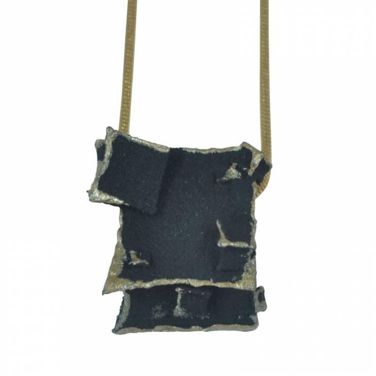 black gold cube pendant