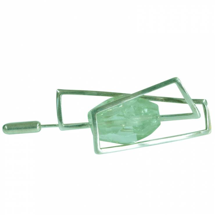 green amethyst brooch pin