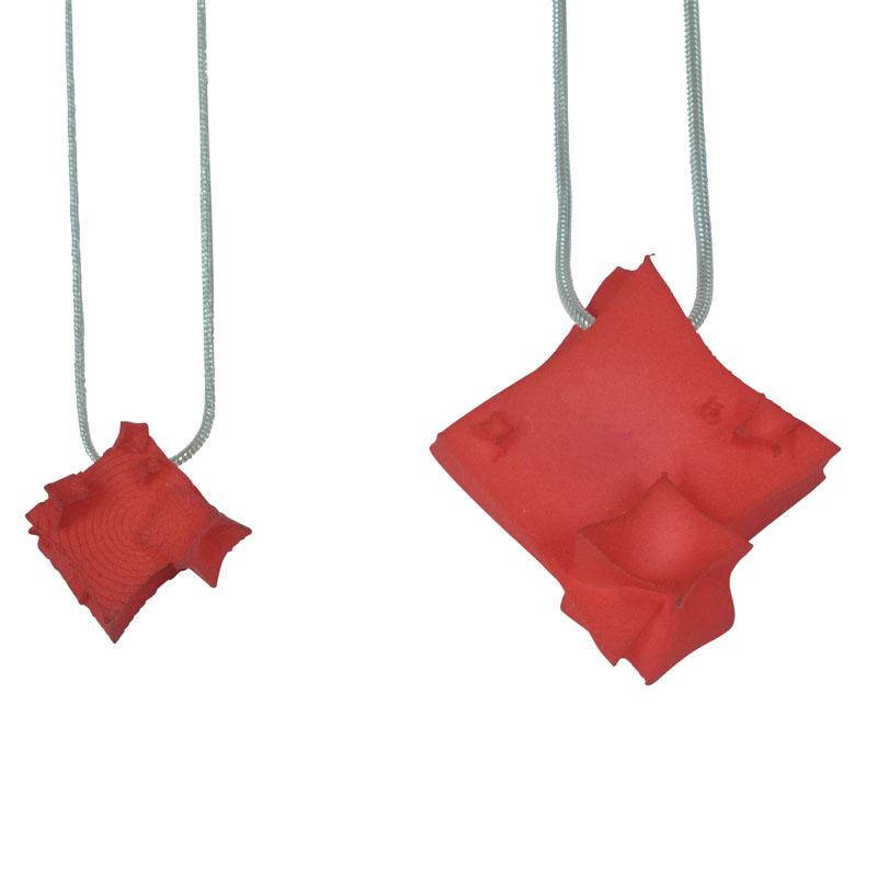 red diamond cube pendants