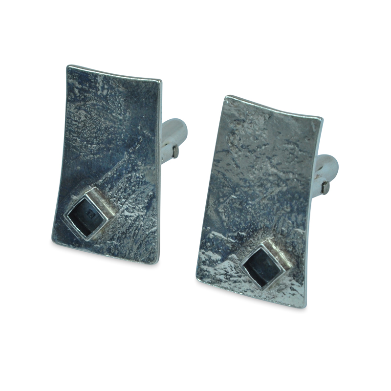 rollered rectangle square detail cufflinks