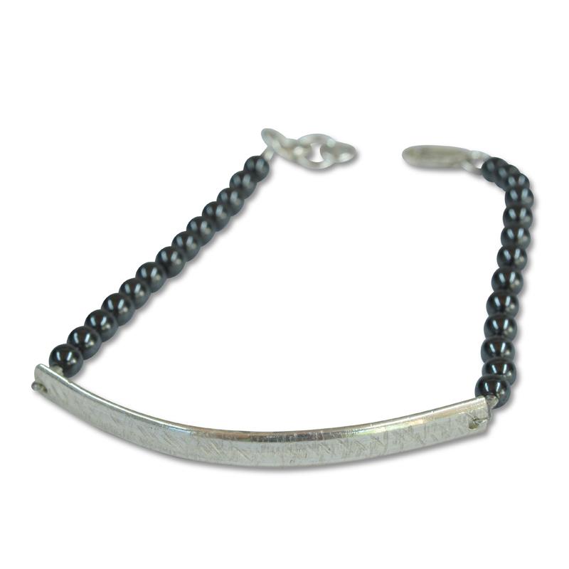 textured curve hematite bracelet