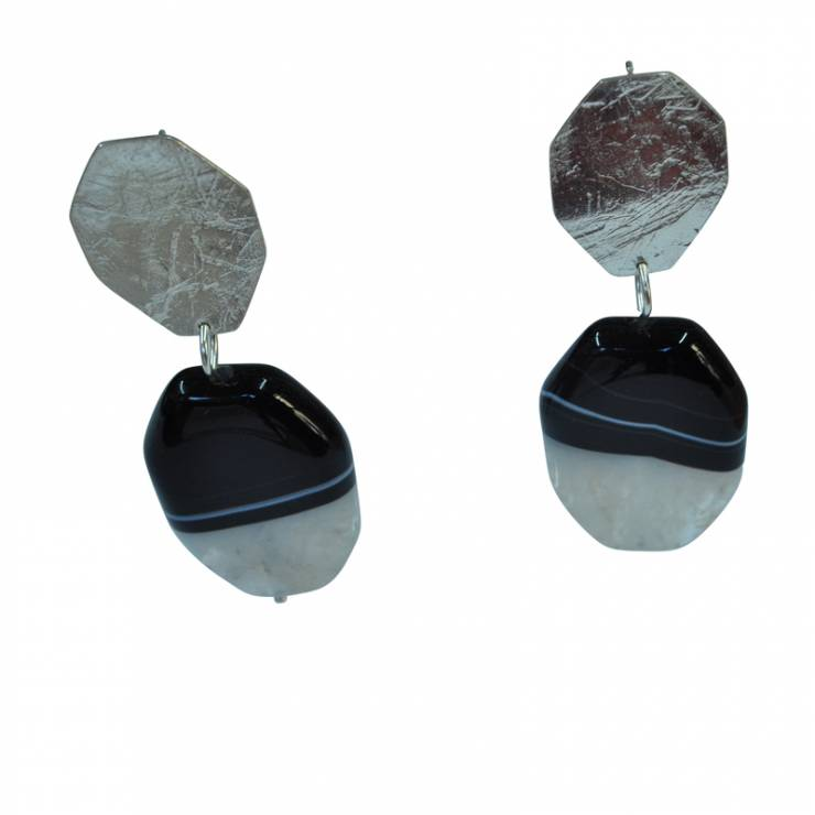 rollered hex agate drop studs