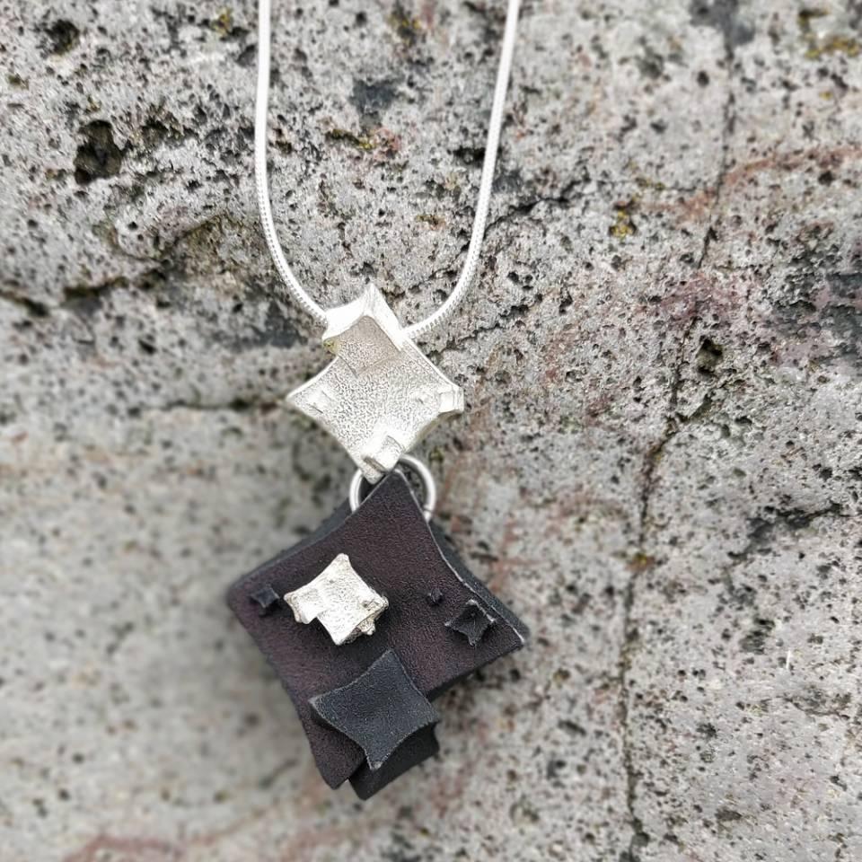 diamond cube black cube drop pendant