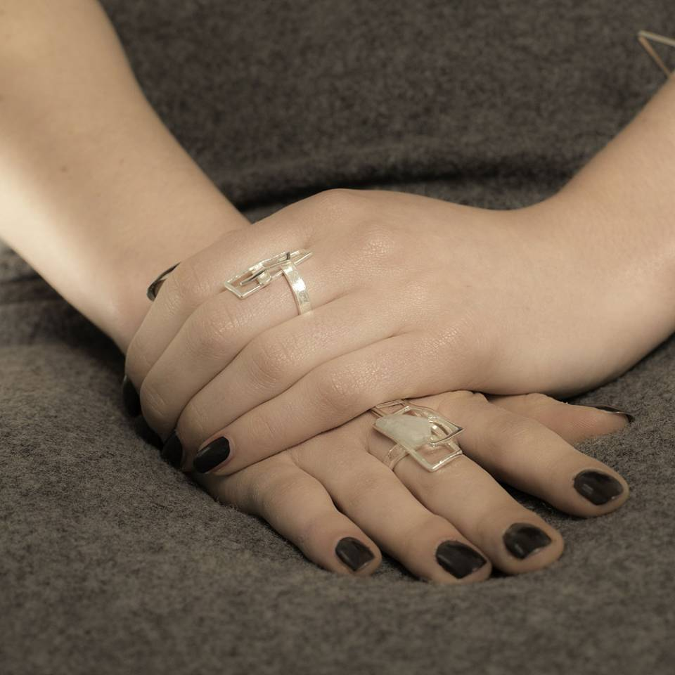 large component aquamarine ring and small component ring modelled - Genna Delaney Jewellery