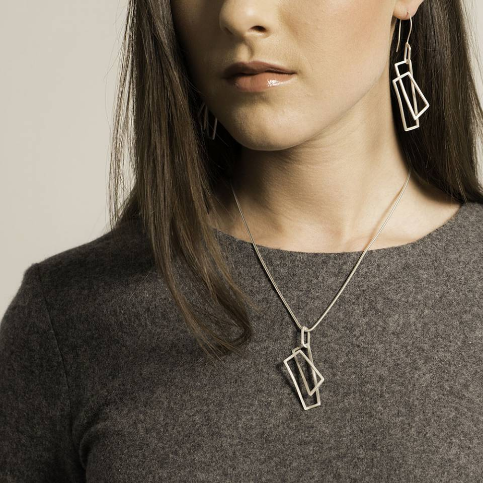 large component pendant and earrings