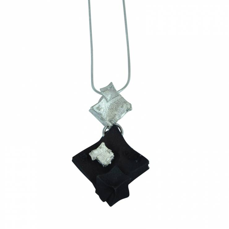 silver diamond black cube pendant